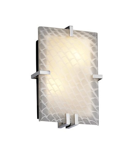 Justice Design Fusion Clips Rectangle Wall Sconce (Ada) in Polished Chrome FSN-5551-WEVE-CROM photo