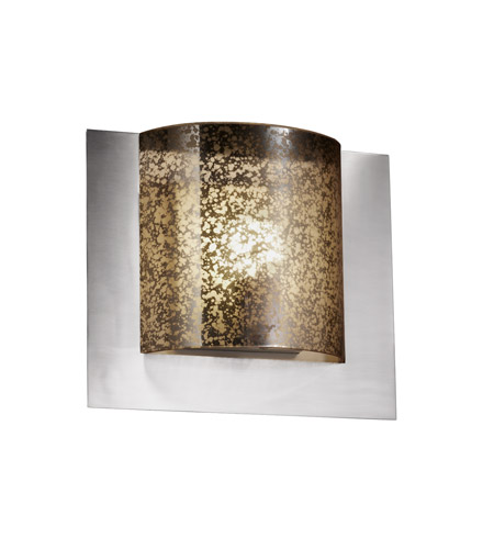 Justice Design FSN-5560-MROR-NCKL Fusion 1 Light 12 inch Brushed Nickel ADA Wall Sconce Wall Light in Mercury Glass photo