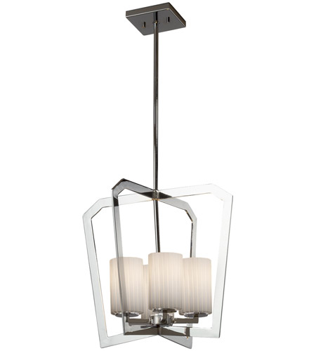 Justice Design FSN-8014-10-RBON-CROM Fusion 4 Light 18 inch Chandelier Ceiling Light in Polished Chrome, Ribbon, Incandescent