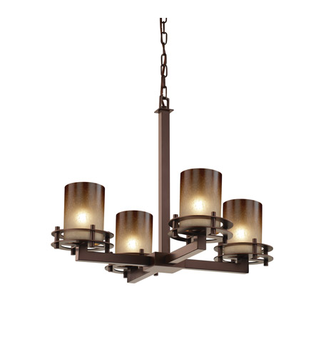 Justice Design FSN-8200-10-CRML-DBRZ Fusion 4 Light 25 inch Dark Bronze Chandelier Ceiling Light in Caramel, Cylinder with Flat Rim