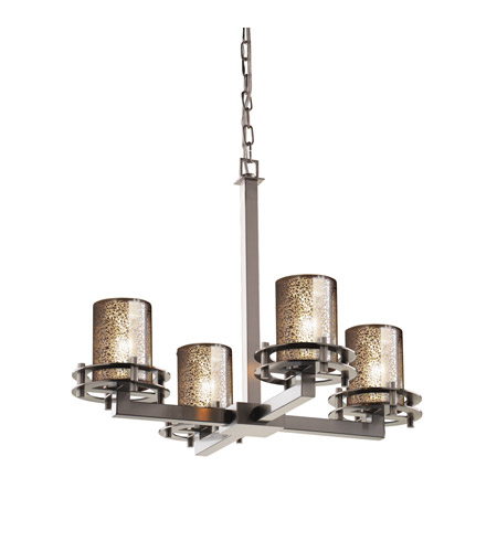 Justice Design FSN-8200-10-MROR-NCKL Fusion 4 Light 25 inch Brushed Nickel Chandelier Ceiling Light in Mercury Glass, Cylinder with Flat Rim