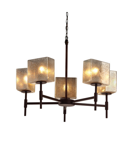 Justice Design FSN-8410-55-MROR-DBRZ-LED5-3500 Fusion LED 23 inch Dark Bronze Chandelier Ceiling Light in 3500 Lm LED, Mercury Glass, Rectangle