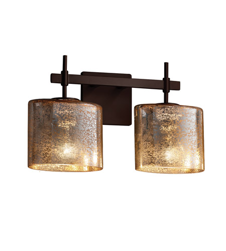 Dark Bronze Vanity Lights : Fusion LED 16 inch Dark Bronze Vanity Light Wall Light in Mercury Glass, 1400 Lm 2 Light LED, Oval