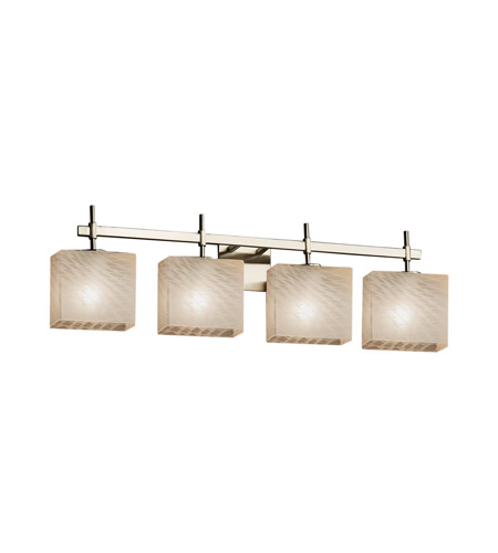 Justice Design Fsn 8414 55 Weve Nckl Fusion 4 Light 33 Inch Brushed Nickel Vanity Wall In 9 Weave Incandescent 32 5 Rectangle