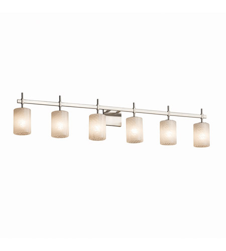 Justice Design FSN-8416-10-MROR-CROM Fusion 6 Light 49 inch Polished Chrome Bath Bar Wall Light in Mercury Glass, Cylinder with Flat Rim, Incandescent photo