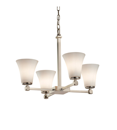 Justice Design FSN-8420-20-OPAL-NCKL Fusion 5 Light 23 inch Brushed Nickel Chandelier Ceiling Light in Opal, Fluorescent, Round Flared