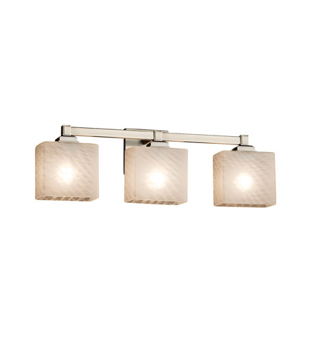 Justice Design Fsn 8433 55 Weve Nckl Fusion 3 Light 24 Inch Brushed Nickel Vanity Wall In Weave Rectangle Incandescent