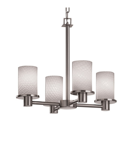 Justice Design FSN-8510-10-WEVE-NCKL Fusion 4 Light 20 inch Brushed Nickel Chandelier Ceiling Light in Weave