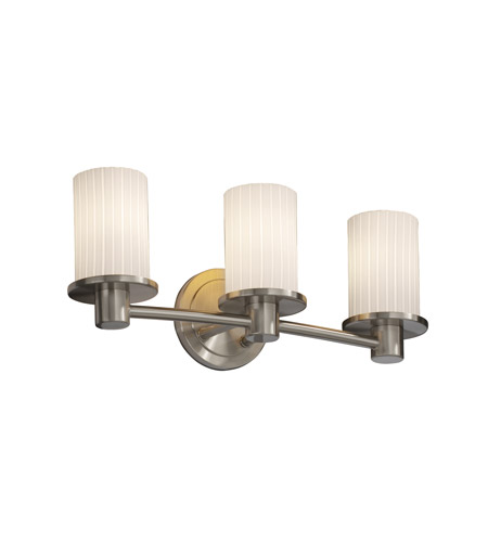 Justice Design Fusion Rondo 3-Light Bath Bar in Brushed Nickel FSN-8513-10-RBON-NCKL photo