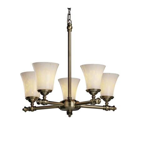 Justice Design FSN-8520-20-DROP-ABRS Fusion 5 Light Antique Brass Chandelier Ceiling Light in Droplet photo