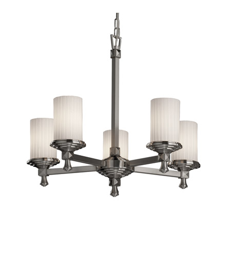 Justice Design FSN-8530-10-RBON-NCKL Fusion 5 Light 24 inch Brushed Nickel Chandelier Ceiling Light in Ribbon photo