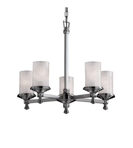 Justice Design FSN-8530-10-WEVE-NCKL Fusion 5 Light 24 inch Brushed Nickel Chandelier Ceiling Light in Weave