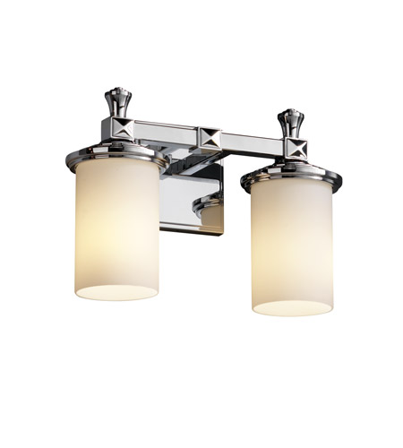 Justice Design Fusion Deco 2-Light Bath Bar in Polished Chrome FSN-8532-10-OPAL-CROM photo