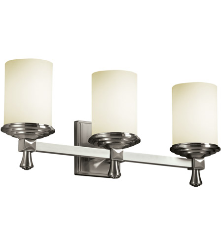 Justice Design Fusion Deco 3-Light Bath Bar in Brushed Nickel FSN-8533-10-OPAL-NCKL photo