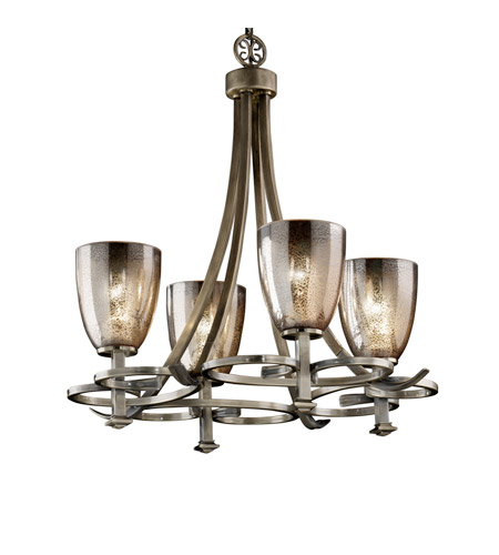 Justice Design Fusion Arcadia 4-Uplight Chandelier in Antique Brass FSN-8560-18-MROR-ABRS photo