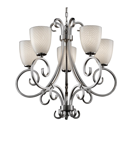 Justice Design FSN-8570-18-WEVE-NCKL Fusion 5 Light Brushed Nickel Chandelier Ceiling Light in Tapered Cylinder, Weave, Fluorescent