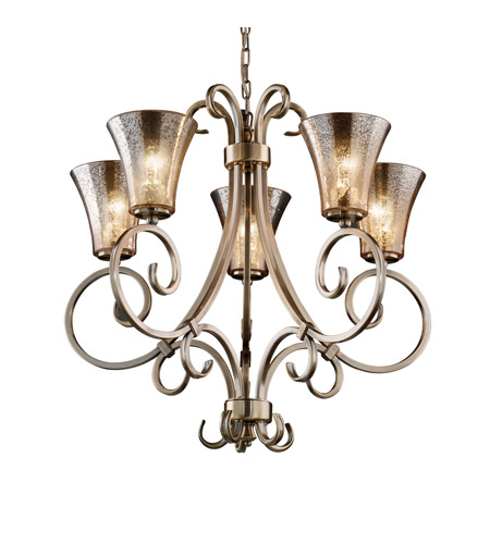 Justice Design FSN-8570-20-MROR-ABRS Fusion 5 Light Antique Brass Chandelier Ceiling Light in Round Flared, Mercury Glass, Fluorescent