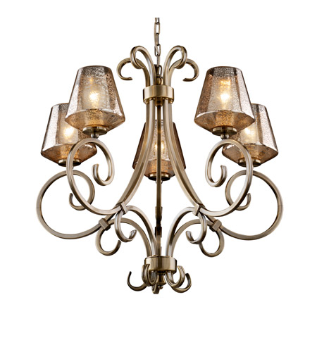 Justice Design FSN-8570-22-MROR-ABRS Fusion 5 Light Antique Brass Chandelier Ceiling Light in Mercury Glass, Inverted Cone, Incandescent