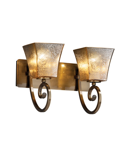 Justice Design FSN-8572-40-MROR-ABRS Fusion 2 Light 16 inch Antique Brass Bath Bar Wall Light in Square Flared, Mercury Glass, Fluorescent photo
