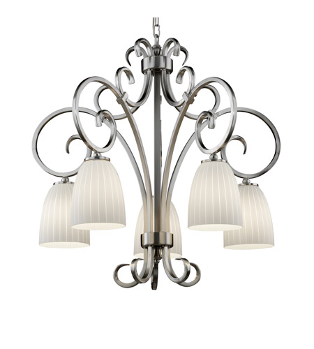Justice Design FSN-8575-18-RBON-NCKL Fusion 5 Light Brushed Nickel Chandelier Ceiling Light in Tapered Cylinder, Ribbon, Fluorescent