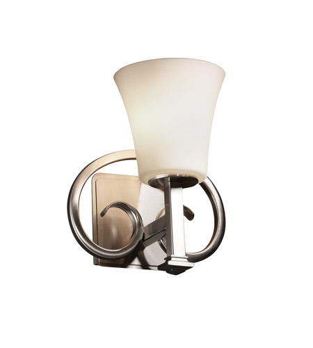 Justice Design Fusion Heritage 1-Light Wall Sconce in Brushed Nickel FSN-8581-20-OPAL-NCKL photo
