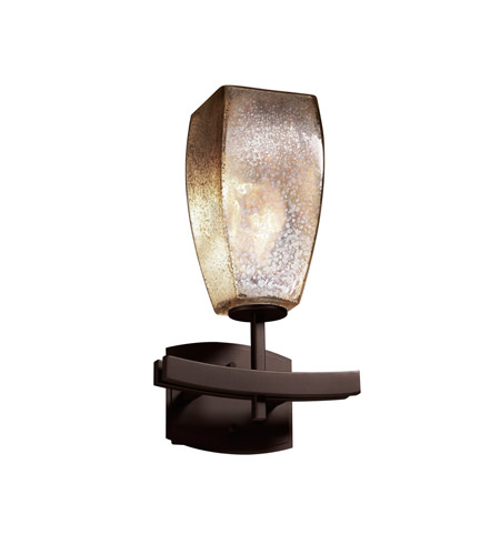 Justice Design FSN-8591-65-MROR-DBRZ Fusion 1 Light 9 inch Dark Bronze Wall Sconce Wall Light in Fluorescent, Mercury Glass, Tall Tapered Square photo