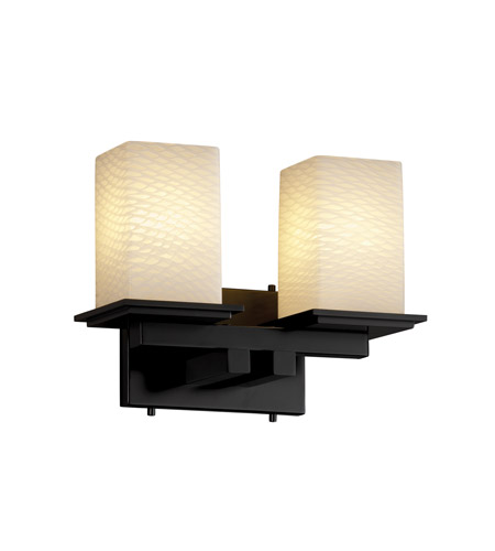 Justice Design FSN-8672-15-WEVE-MBLK Fusion 2 Light 13 inch Matte Black Bath Bar Wall Light in Weave photo