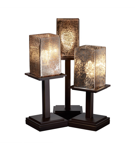 Justice Design FSN-8697-15-MROR-DBRZ Fusion 17 inch 100 watt Dark Bronze Table Lamp Portable Light in Mercury Glass photo