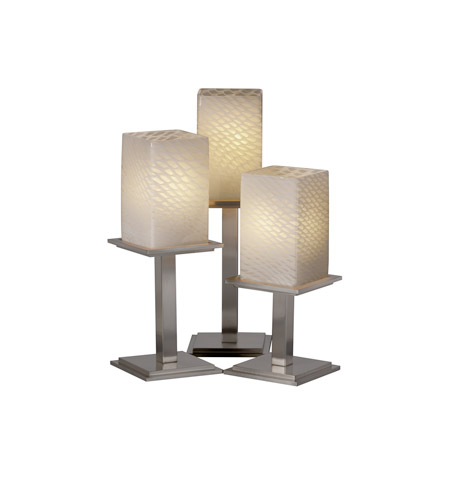 Justice Design FSN-8697-15-WEVE-NCKL Fusion 17 inch 100 watt Brushed Nickel Table Lamp Portable Light in Weave photo