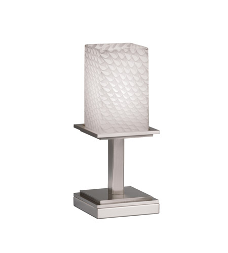 Justice Design FSN-8698-15-WEVE-NCKL Fusion 13 inch 100 watt Brushed Nickel Table Lamp Portable Light in Weave photo