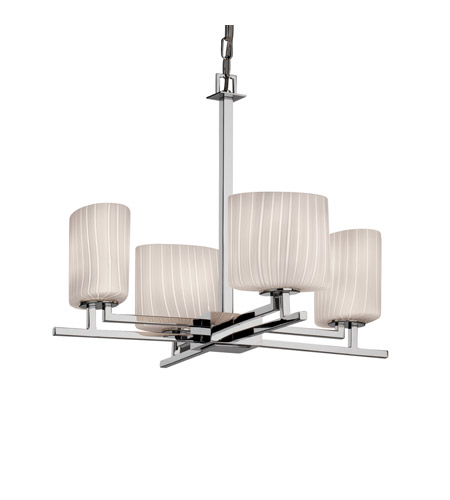 Justice Design Fusion Aero 4-Light Chandelier in Polished Chrome FSN-8700-30-RBON-CROM photo