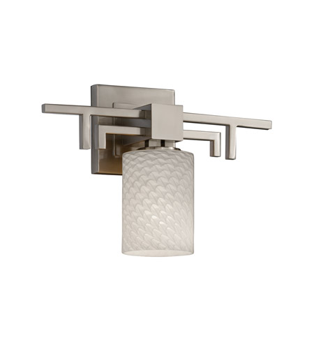 Justice Design FSN-8701-10-WEVE-NCKL Fusion 1 Light 14 inch Brushed Nickel Wall Sconce Wall Light in Weave, Cylinder with Flat Rim photo