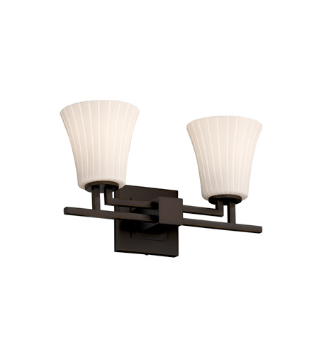 Justice Design FSN-8702-20-RBON-DBRZ Fusion 2 Light 16 inch Dark Bronze Bath Bar Wall Light in Fluorescent, Ribbon, Round Flared photo