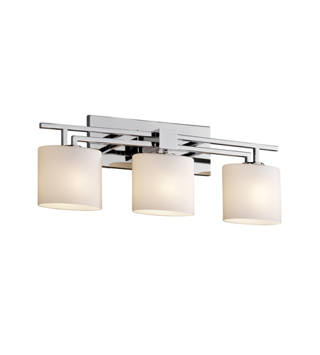 Justice Design Fusion Aero 3-Light Bath Bar in Polished Chrome FSN-8703-30-OPAL-CROM photo