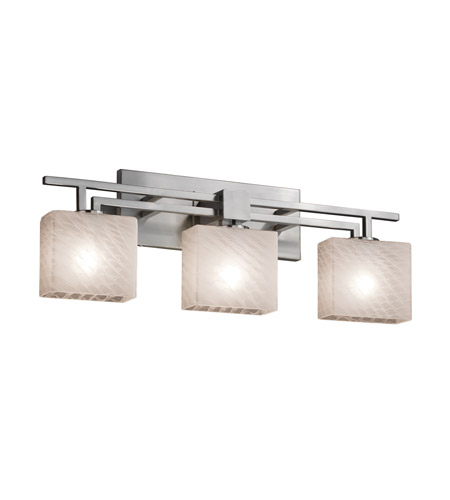 Fusion 3 Light 26 Inch Brushed Nickel Vanity Wall In Weave Rectangle Incandescent