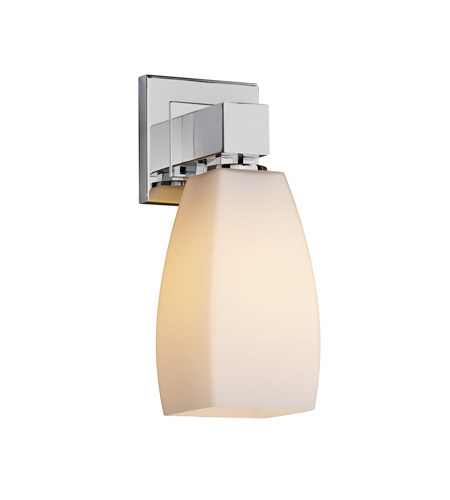 Justice Design FSN-8705-65-OPAL-CROM Fusion 1 Light 6 inch Polished Chrome Wall Sconce Wall Light in Opal, Tall Tapered Square photo