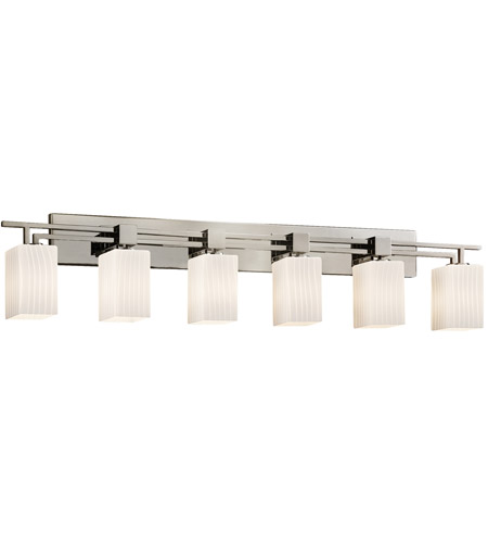 Justice Design FSN-8706-15-RBON-NCKL Fusion 6 Light 56 inch Brushed Nickel Bath Bar Wall Light in Fluorescent, Ribbon, Square with Flat Rim photo