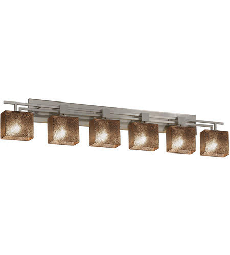 Justice Design FSN-8706-55-MROR-NCKL Fusion 6 Light 57 inch Brushed Nickel Vanity Light Wall Light in 9.25, Mercury Glass, Incandescent, 56.5, Rectangle