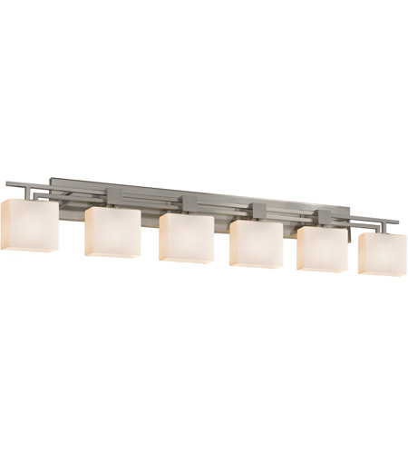 Justice Design FSN-8706-55-OPAL-NCKL Fusion 6 Light 57 inch Brushed Nickel Vanity Light Wall Light in 9.25, Opal, Incandescent, 56.5, Rectangle
