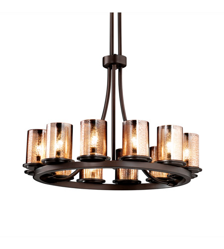 Justice Design FSN-8763-10-MROR-DBRZ Fusion 12 Light Dark Bronze Chandelier Ceiling Light in Mercury Glass photo