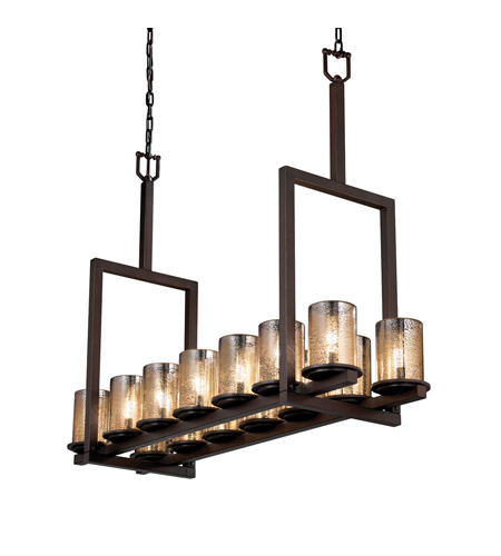 Justice Design FSN-8764-10-MROR-DBRZ Fusion 14 Light 42 inch Dark Bronze Chandelier Ceiling Light in Mercury Glass photo