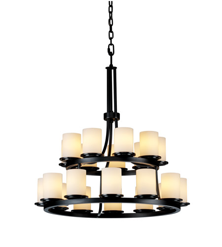 Justice Design Fusion Dakota 21-Light 2-Tier Ring Chandelier in Matte Black FSN-8767-10-OPAL-MBLK photo