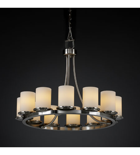 Justice Design FSN-8768-10-OPAL-NCKL Fusion 12 Light 28 inch Brushed Nickel Chandelier Ceiling Light in Opal photo