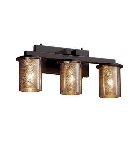 Justice Design FSN-8773-10-MROR-DBRZ Fusion 3 Light 21 inch Dark Bronze Bath Bar Wall Light in Mercury Glass, Incandescent