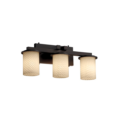 Justice Design FSN-8773-10-WEVE-DBRZ Fusion 3 Light 21 inch Dark Bronze Bath Bar Wall Light in Weave, Incandescent