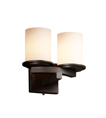 Justice Design FSN-8775-10-OPAL-DBRZ Fusion 2 Light 11 inch Dark Bronze Wall Sconce Wall Light in Opal photo