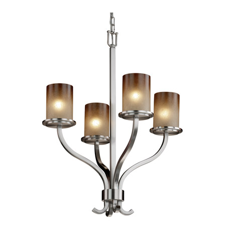 Justice Design FSN-8780-10-CRML-NCKL Sonoma 4 Light 22 inch Brushed Nickel Chandelier Ceiling Light in Caramel