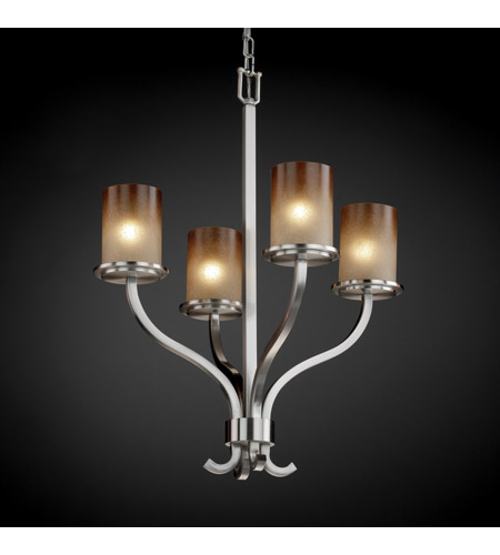 Justice Design FSN-8780-10-CRML-NCKL Sonoma 4 Light 22 inch Brushed Nickel Chandelier Ceiling Light in Caramel FSN-8780-10-CRML-NCKL_2.jpg