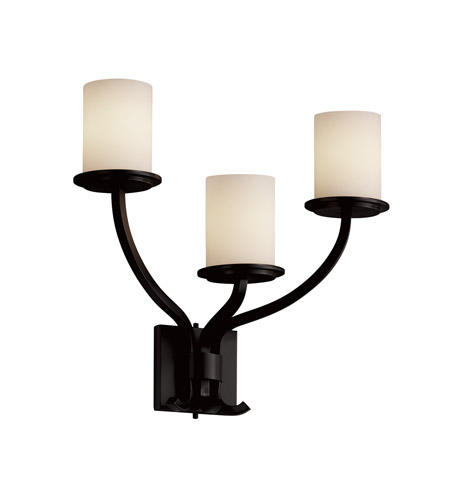 Justice Design Fusion Sonoma 3-Light Wall Sconce in Matte Black FSN-8783-10-OPAL-MBLK photo