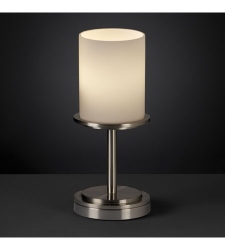 Justice Design FSN-8798-10-OPAL-NCKL Fusion 12 inch 60 watt Brushed Nickel Table Lamp Portable Light in Opal photo